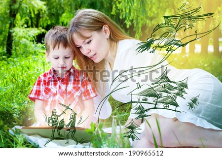 Mother with Son Reading a Book with Fairy Tales and Mystical flying heroes, house training - stock photo