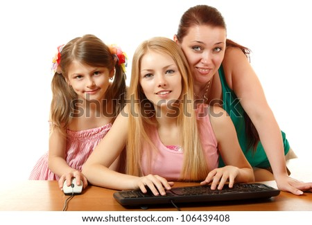 mother with two daughters looking with different emotions at camera like in monitor, isolated on white