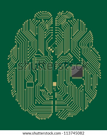 Motherboard brain on green background for technology concept. Vector version also available in gallery - stock photo