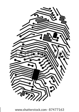 Motherboard fingerprint for security or computer concept design. Vector version also available in gallery - stock photo