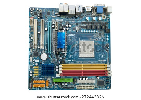 Motherboard Isolated on white background. - stock photo