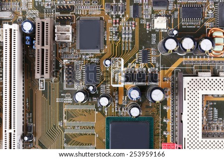 Motherboard, macro view - stock photo