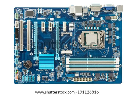 Motherboard top view - stock photo