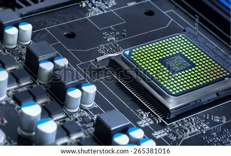 motherboard with microprocessor, futuristic microchip - stock photo