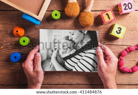 Mothers day composition. Black-and-white photo. Various toys. Wo - stock photo