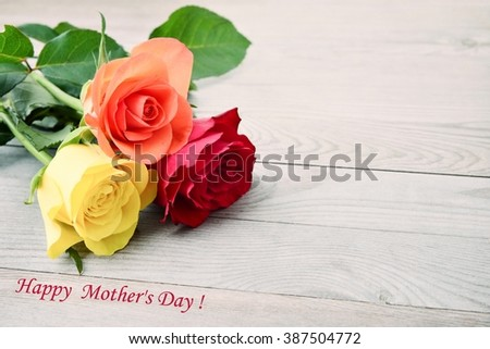 Mothers day. Mothers day card with roses. Rose for mother day. Mothers day background and mother day flower. Mothers day gift. - stock photo