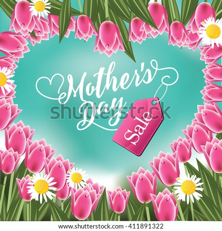Mothers Day sale heart and tulips  - stock photo