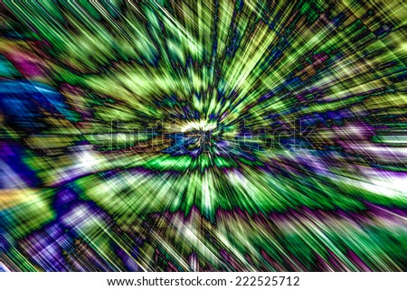 Motion  and zoom blur abstract background  in green with other colors