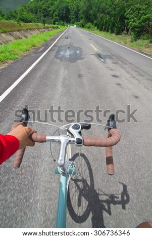 Motion blur are spinning bike vintage. - stock photo