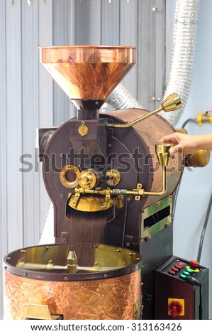 motion blur barista using the coffee beans roaster