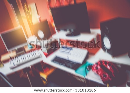 motion blur computer music in home studio recording concept + art filter