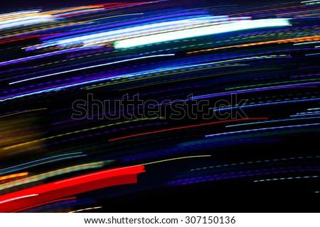 Motion blur night lights in city ,Bangkok Thailand - stock photo