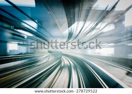 Motion blur of Japanese mono rail - Long exposure effect - stock photo