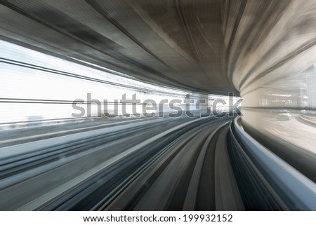 Motion blur of mono rail - stock photo