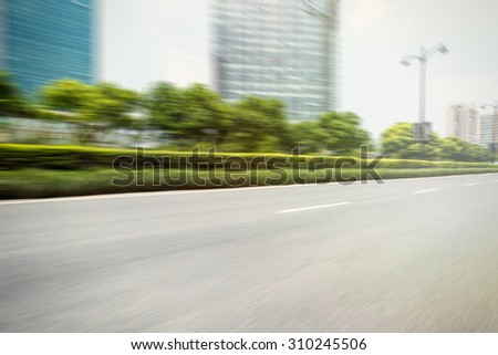 motion blur of the road in the suburbs - stock photo
