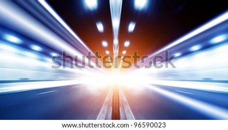 Motion Blur of the tunnel, exaggerated expression. - stock photo