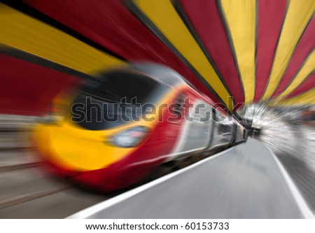 Motion Blur on Fast Passenger Speed Train Train in the Tunnel. Tilted View - stock photo