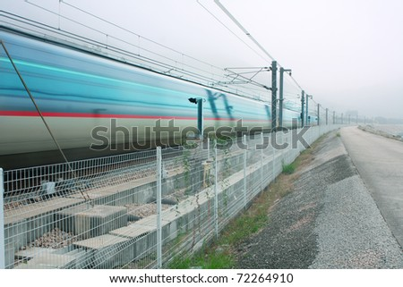 motion blur outdoor of high speed train - stock photo
