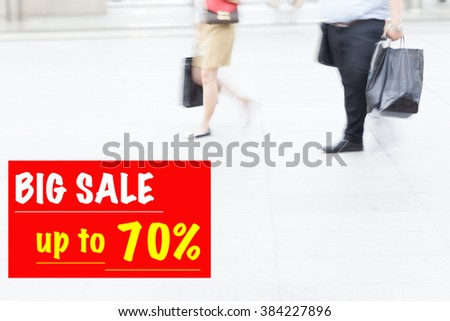 motion blur people walking, sale and marketing discount shopping concept - stock photo