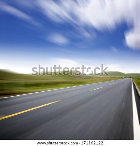 Motion blur road cars - stock photo