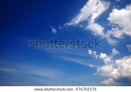 Motion blurred photographic background with trees against blue sky