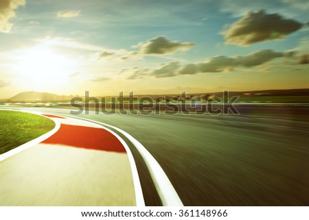 Motion blurred racetrack,vintage mood mood - stock photo
