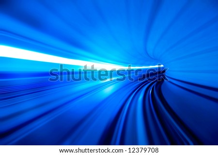 motion fast in tunnel - stock photo