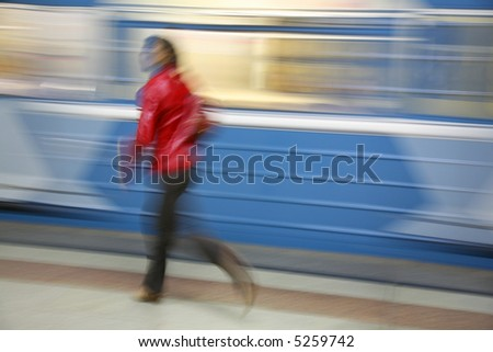motion girl with train - stock photo