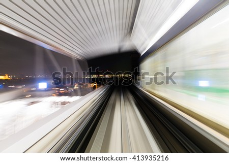Motion in tunnel - stock photo