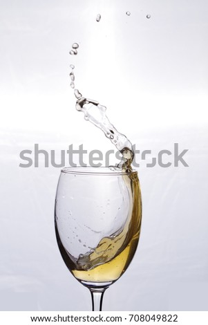 motion of ripple beer in glass. focus on glass , not white isolated background.
