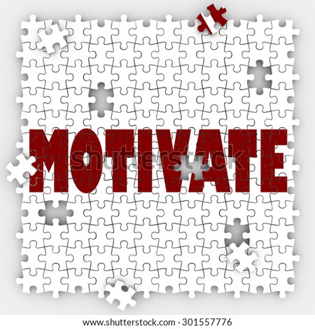 Motivate puzzle word to get inspired, encouraged or feel passion, drive, desire and ambition to make a change or achieve a goal - stock photo
