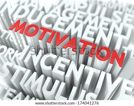 Motivation - Red Text on White Wordcloud. - stock photo