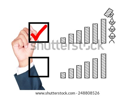 motivation teamwork wish result growth better solution for success by businessman tick box on white background - stock photo