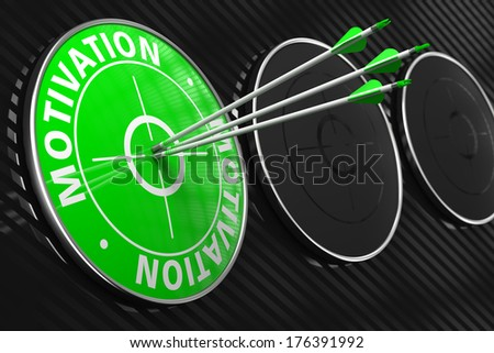 Motivation - Three Arrows Hitting the Center of Green Target on Black Background. - stock photo