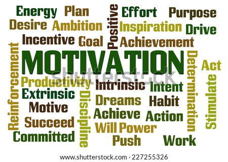 Motivation word cloud on white background - stock photo