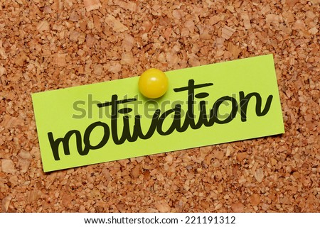 motivation word on notepaper - stock photo
