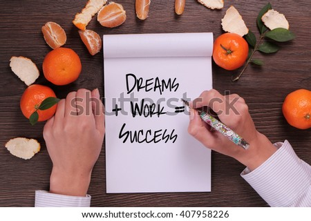 Motivation words  Dreams + Work = Success . Inspirational quotation. Going forward, Self development, Grow, Life, Happiness concept - stock photo