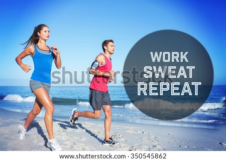 Motivational new years message against happy couple running together beside the water - stock photo