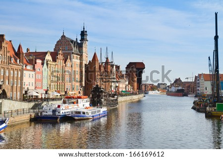 Motlawa river embankment in old town, Gdansk ,  Poland - stock photo