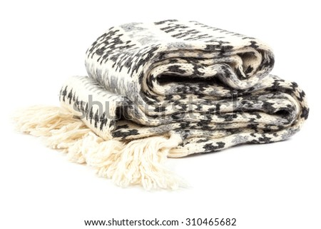 Motley scarf isolated on a white background. - stock photo