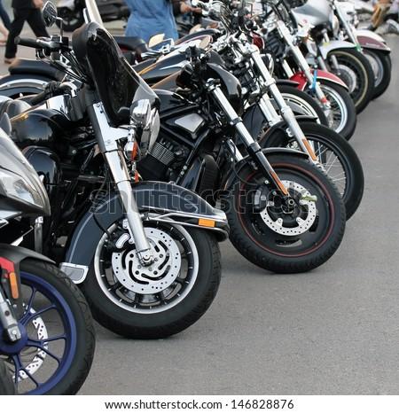 Motobikes in a row. - stock photo