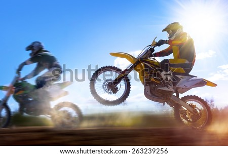 motocross rider - stock photo