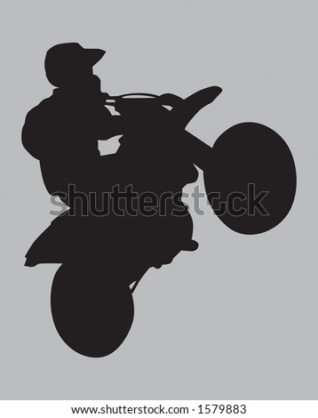 Motocross Wheelie sihouette.  Clipping Path Included. - stock photo