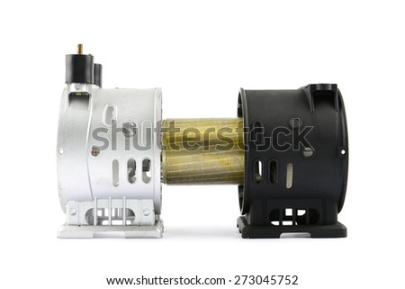 motor and cover motor compressor on white background