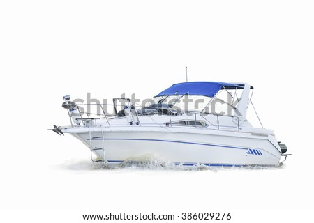 motor boat on white background - stock photo