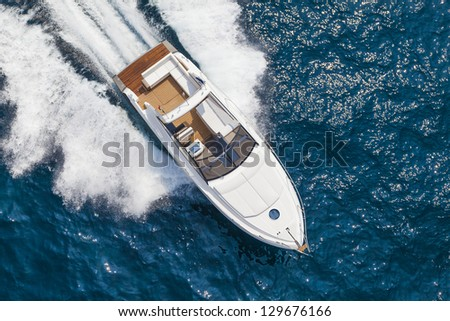 motor boat, yacht, rio yacht - stock photo