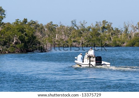 Motor boating in a protected wetlands refuge - stock photo