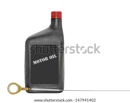 "Motor oil bottle and dipstick.Closed black container,bright red cap standing upright.Engine oil dipstick,yellow round pull handle with words ""engine oil"".Horizontal, isolated on white.Copy space. - stock photo"