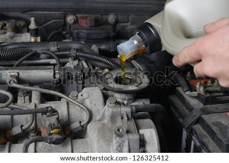 Motor oil change - stock photo