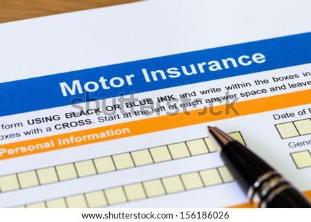 Motor or car insurance application with pen